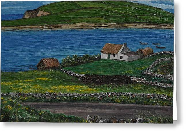 Clifden Thatched Cottage Sky Road Connemara Ireland Greeting Card