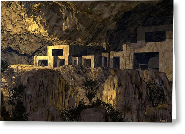 Cliff Dwellers Greeting Card by John Pangia