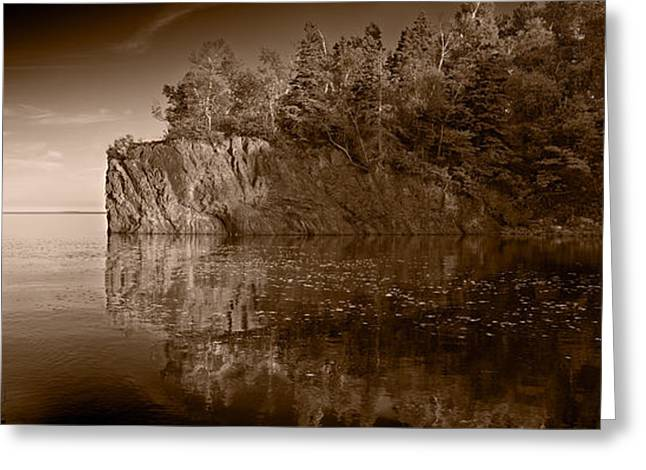Cliff Face Northshore Mn Bw Greeting Card by Steve Gadomski