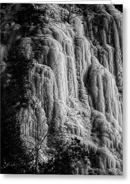 Cliff Ice In Black And White Greeting Card