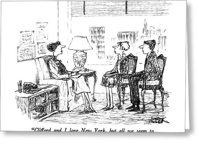 Clifford And I Love New York Greeting Card by Robert Weber