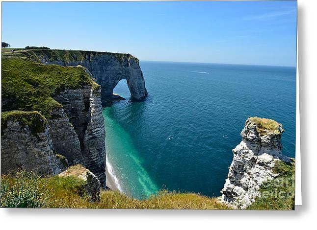 Cliffs At �tretat, Normandy Greeting Card by Fritz J. Hiersche
