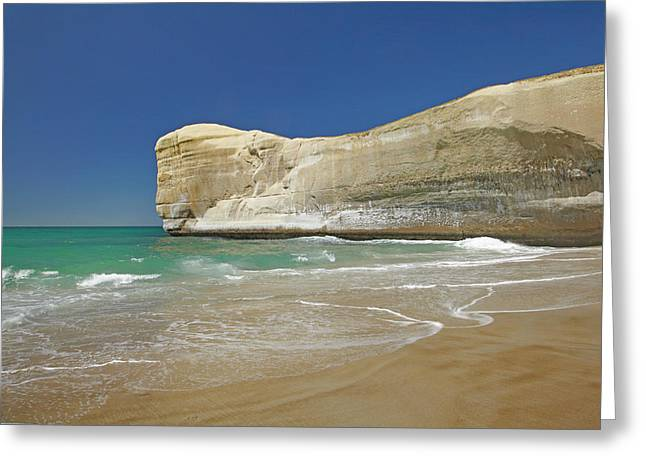 Cliffs At Tunnel Beach, Dunedin, South Greeting Card by David Wall
