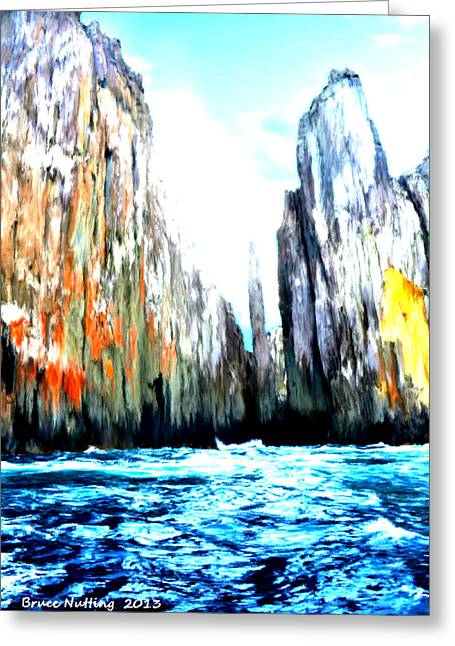 Greeting Card featuring the painting Cliffs By The Sea by Bruce Nutting
