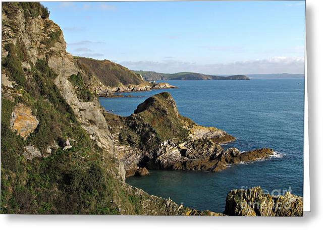 Cliffs In Cornwall Near Mevagissey Greeting Card by Kiril Stanchev