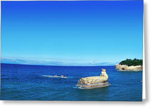 Cliffs In Ionian Sea, Corfu, Ionian Greeting Card by Panoramic Images