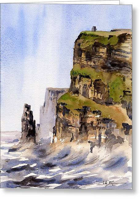 Clare   The Cliffs Of Moher   Greeting Card by Val Byrne