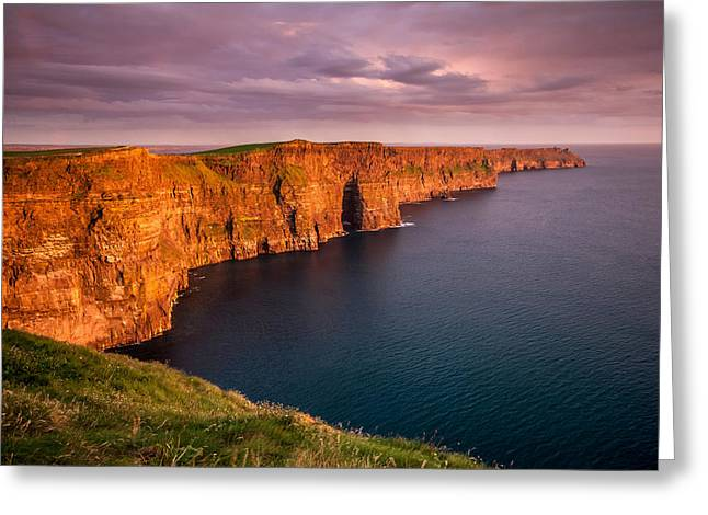 Cliffs Of Moher Ireland At Sunset Greeting Card by Pierre Leclerc Photography
