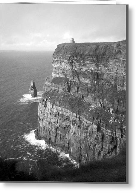 Cliffs Of Moher - O'brien's Tower B N W Greeting Card