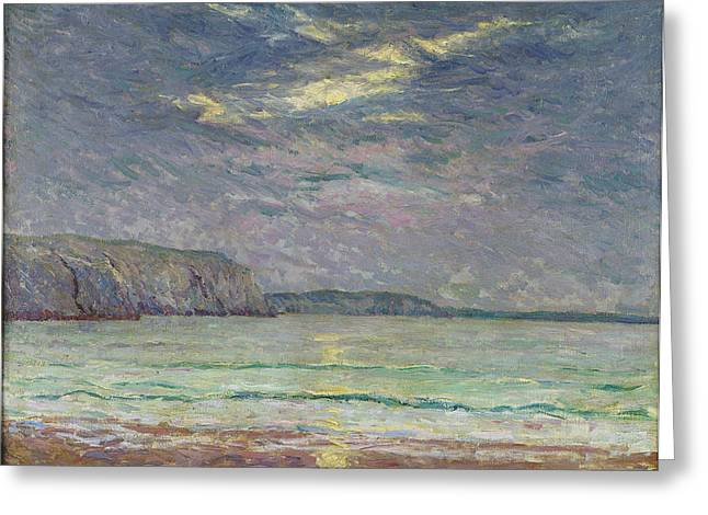 Cliffs With Setting Sun Oil On Canvas Greeting Card by Maxime Emile Louis Maufra