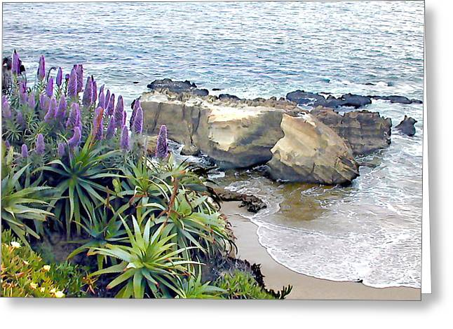 Cliffside Ocean View Greeting Card by Elaine Plesser