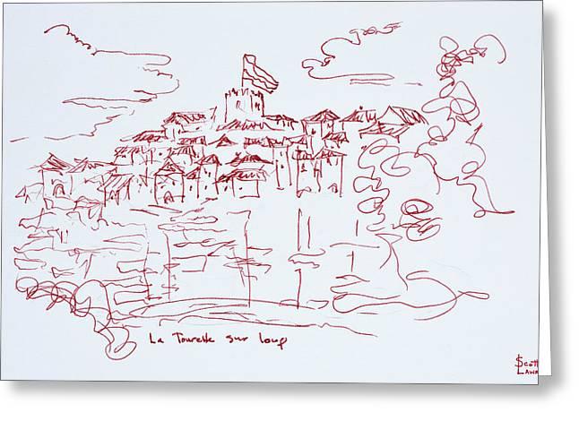 Clifftop Village Of Tourettes Sur Loup Greeting Card