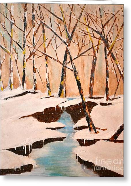 Greeting Card featuring the painting Cliffy Creek by Denise Tomasura