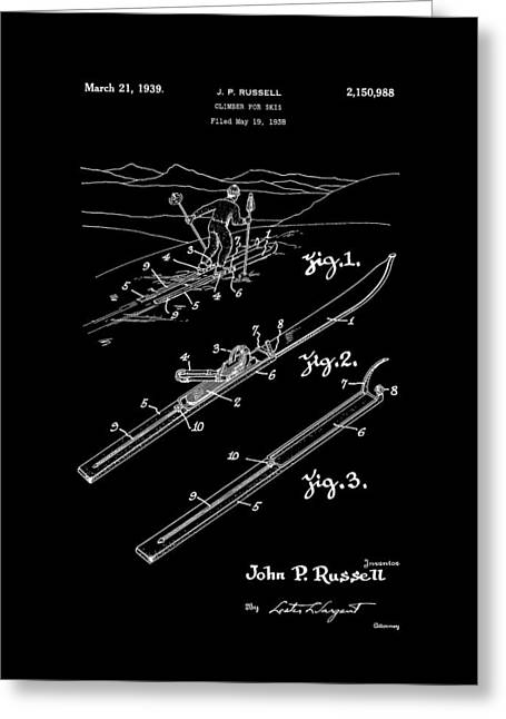 Climber For Skis 1939 Russell Patent Art Greeting Card