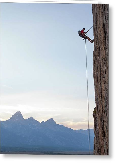 Climber Rappelling Down Boulder Greeting Card by Ben Horton