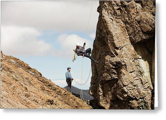 Climbers Abseiling Greeting Card