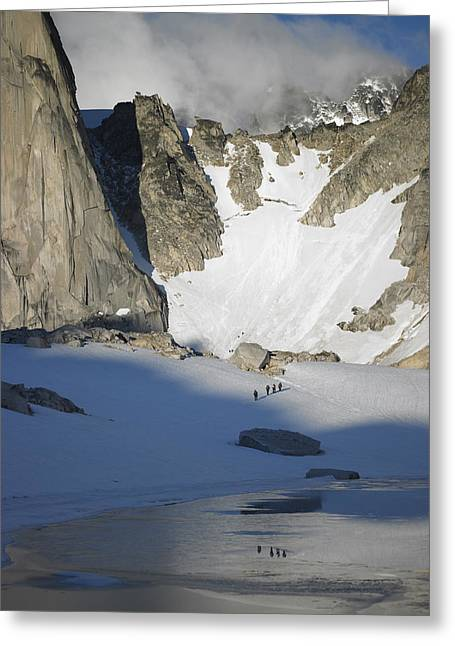 Climbers Enroute To The Bugaboo Snowpatch Col Greeting Card