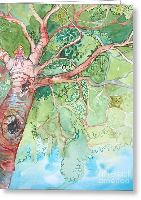 Climbing High Greeting Card by Maya Simonson