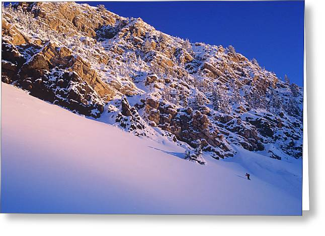 Climbing In Little Cottonwood Canyon Greeting Card by Howie Garber