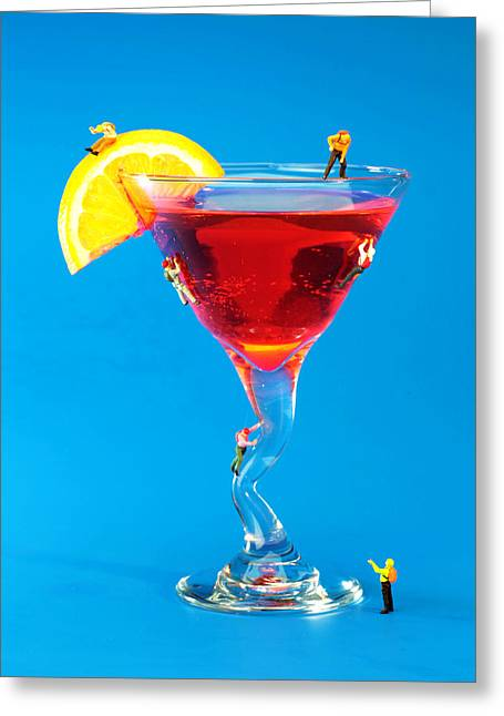 Climbing On Red Wine Cup II Greeting Card by Paul Ge