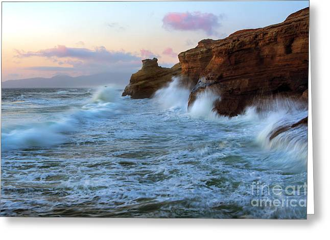 Climbing The Cliffs Greeting Card by Mike Dawson