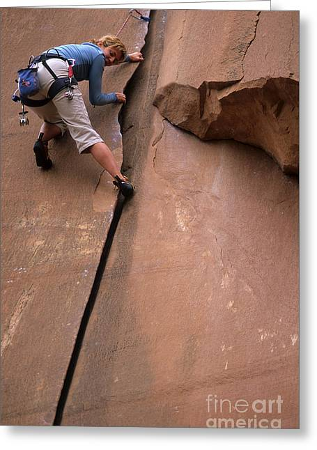Utah Climbing The Crack Greeting Card