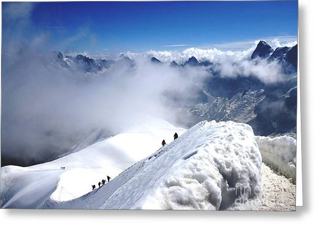 Climbing To The Aiguille Du Midi Greeting Card