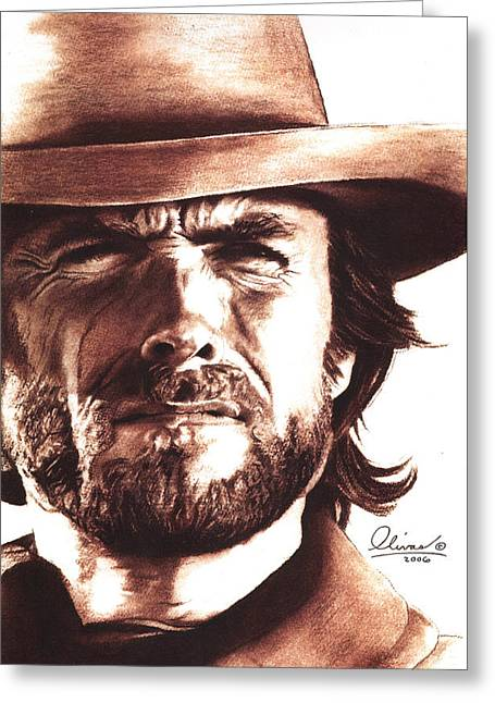 Clint Eastwood Greeting Card by Bill Olivas