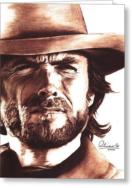 Clint Eastwood Greeting Card by Bill Olivas