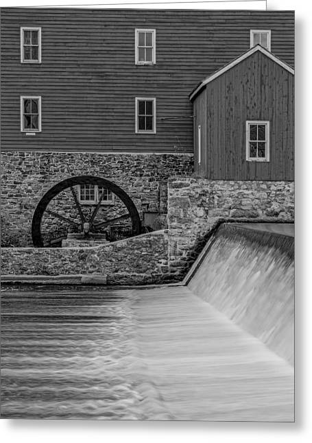 Clinton Historic Red Mill Bw Greeting Card by Susan Candelario
