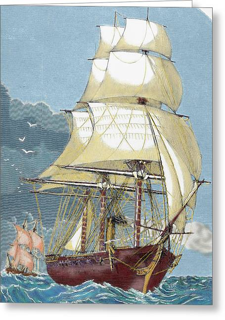 Clipper 19th-century Colored Engraving Greeting Card by Prisma Archivo