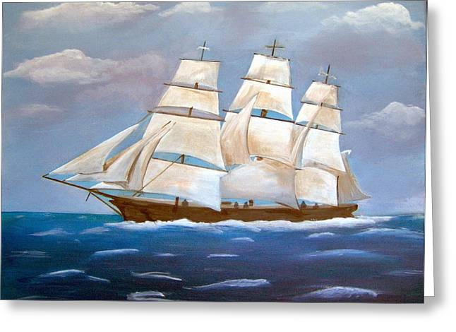 Clipper Ship Greeting Card by Catherine Swerediuk