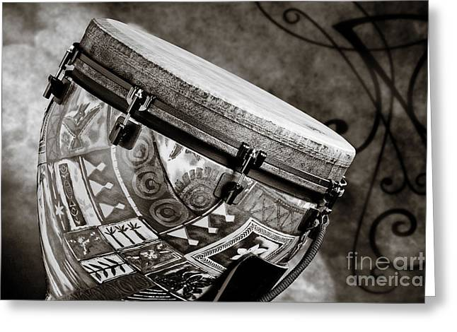 Clissic Djembe African Drum Photograph In Sepia 3334.01 Greeting Card by M K  Miller