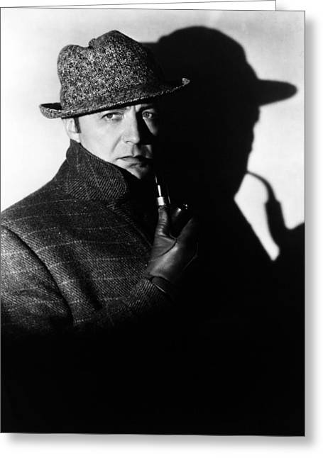 Clive Brook In Sherlock Holmes  Greeting Card by Silver Screen