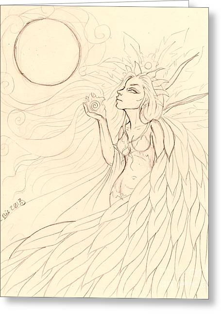 Cloak Of Feathers Sketch  Greeting Card by Coriander  Shea