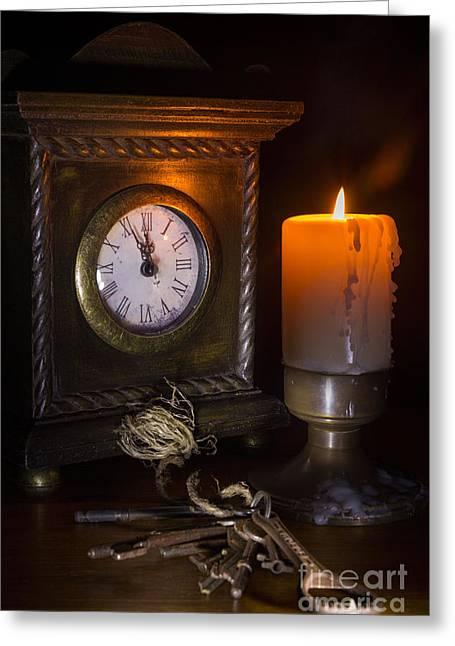 Clock Candle And Old Keys Greeting Card by Ann Garrett
