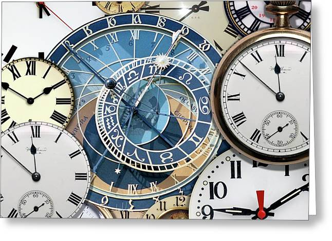 Clock Faces Greeting Card by Victor De Schwanberg