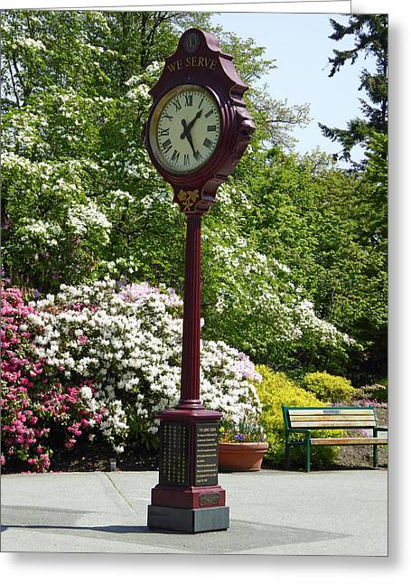 Greeting Card featuring the photograph Clock In Park by Laurie Tsemak