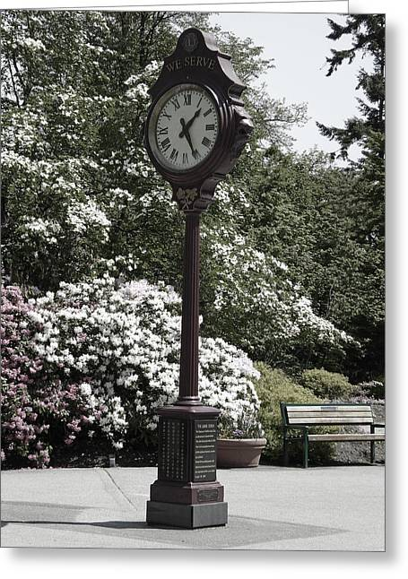 Greeting Card featuring the photograph Clock In Park Muted by Laurie Tsemak