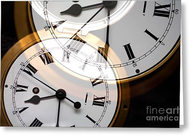 Clock Greeting Card by Natalie Kinnear