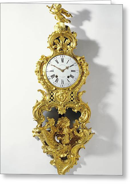 Clock On Bracket Cartel Sur Une Console Clock Movement Greeting Card by Litz Collection
