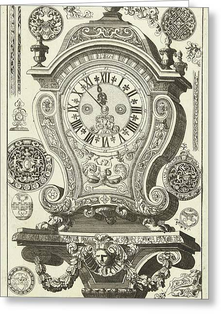 Clock On Console With Mask And Garland, Danil Marot Greeting Card by Dani?l Marot I