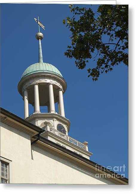 Clock Tower - Central Moravian Church Greeting Card by Anna Lisa Yoder