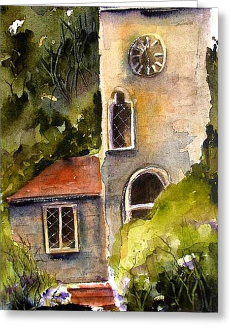 Greeting Card featuring the painting Clock Tower England by Marti Green