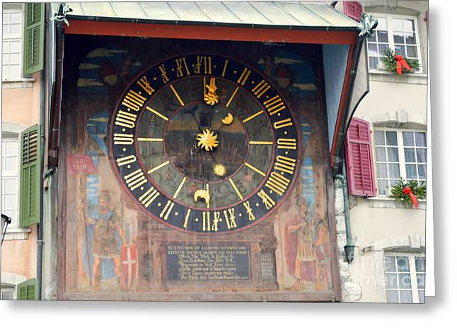 Clock Tower In Solothurn Greeting Card by Felicia Tica