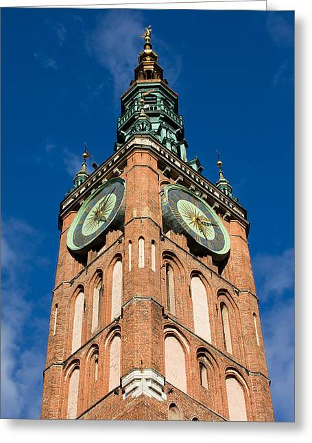 Clock Tower Of Main Town Hall In Gdansk Greeting Card by Artur Bogacki