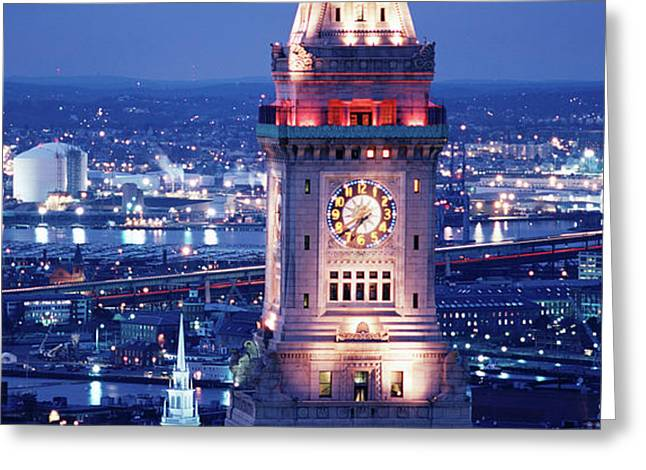 Clock Tower Of The Custom House Greeting Card by Panoramic Images
