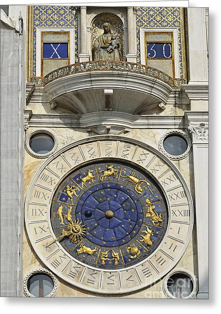 Clock Tower On Piazza San Marco Greeting Card by Sami Sarkis