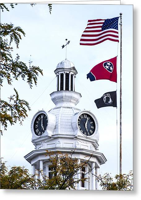 Clock Tower With Tennessee Mia Us Flag Art Greeting Card
