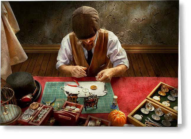 Clockmaker - A Demonstration In Horology Greeting Card by Mike Savad